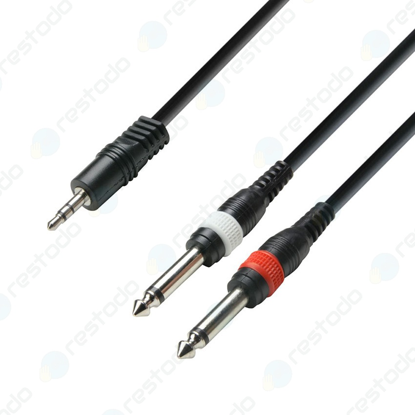 Cable Adam Hall Series 3 de Mini Plug 1/8'' estéreo a 2 Plug 1/4'' mono (6 metros)
